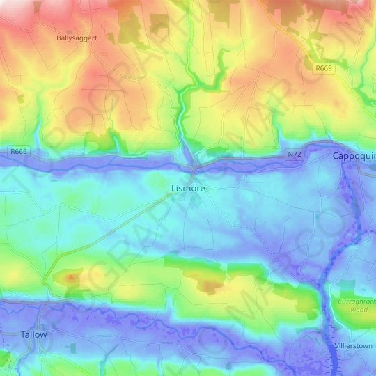 Lismore topographic map, relief map, elevations map
