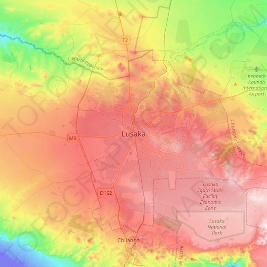 Lusaka topographic map, relief map, elevations map