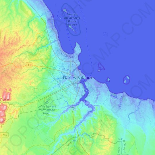 Dar es Salaam topographic map, relief map, elevations map
