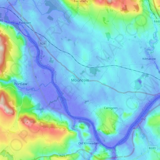 Mooncoin topographic map, relief map, elevations map