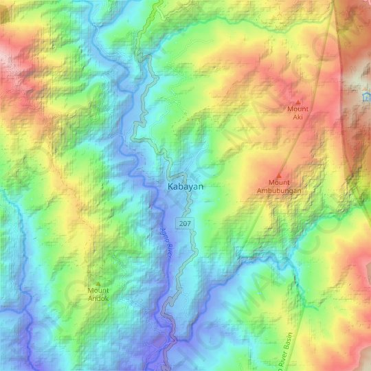 Kabayan topographic map, relief map, elevations map