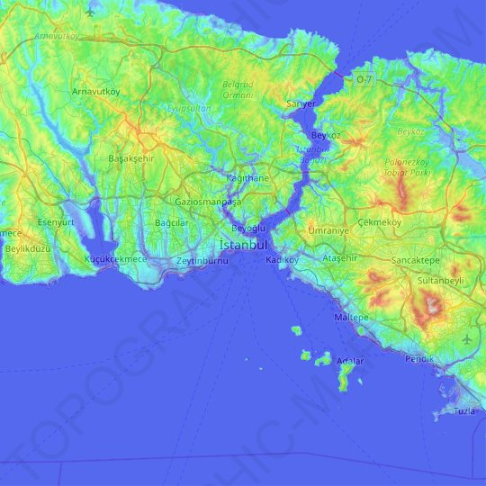 Istanbul topographic map, relief map, elevations map