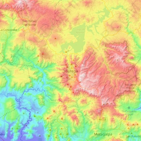 Jinotega topographic map, elevation, relief