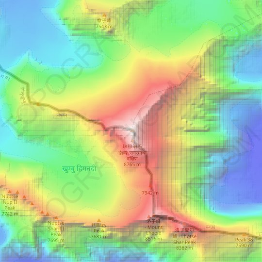 Mount Everest topographic map, elevation, relief