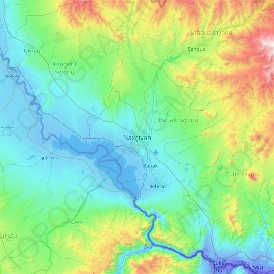 Nakhchivan topographic map, relief map, elevations map
