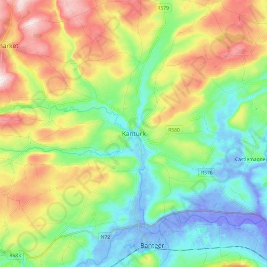 Kanturk topographic map, relief map, elevations map