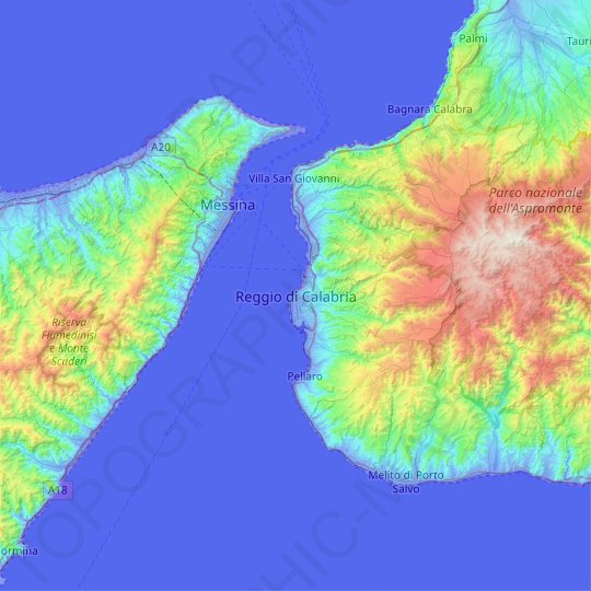 Reggio Calabria topographic map, relief map, elevations map