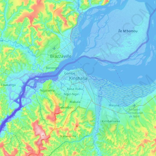 Kinshasa topographic map, relief map, elevations map