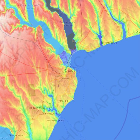 Odesa topographic map, relief map, elevations map