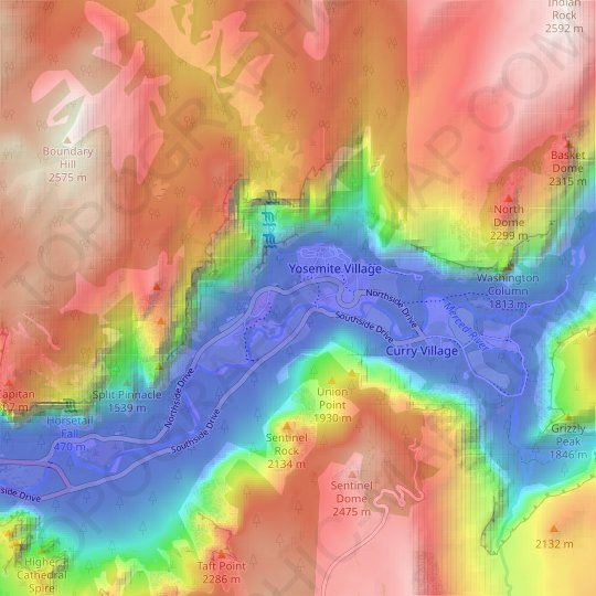 Yosemite Valley topographic map, elevation, relief