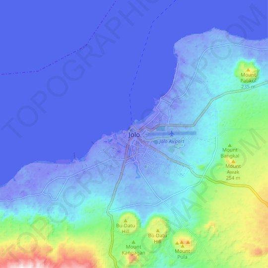 Jolo topographic map, relief map, elevations map