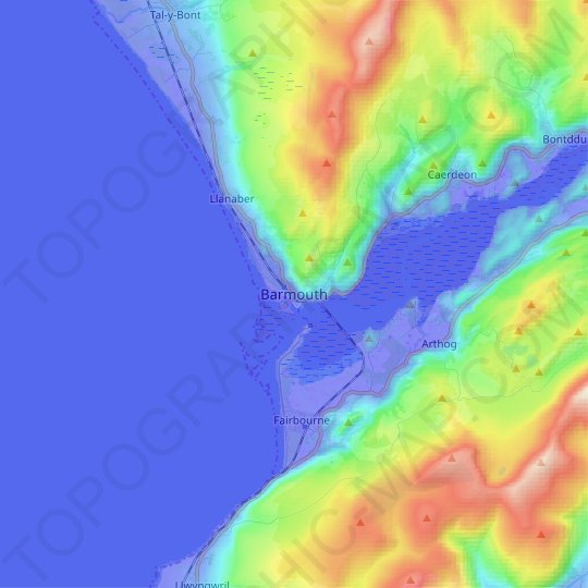 Barmouth topographic map, relief map, elevations map