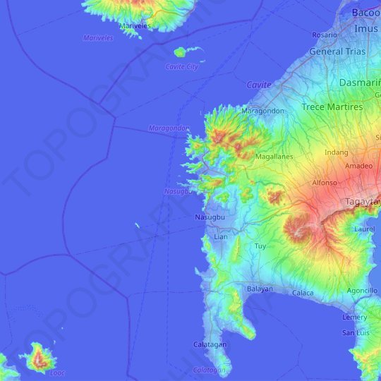 Nasugbu topographic map, elevation, relief