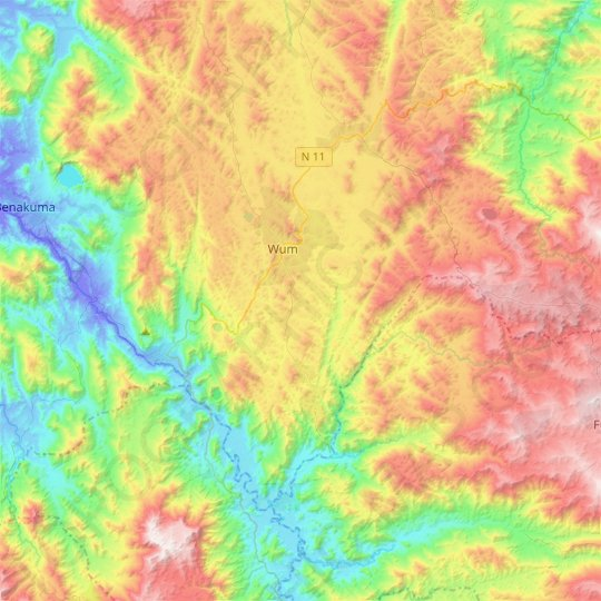 Wum topographic map, elevation, relief