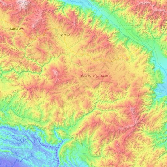 Eastern Highlands topographic map, elevation, relief
