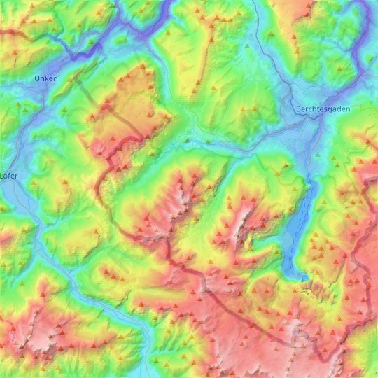 Ramsau topographic map, elevation, relief