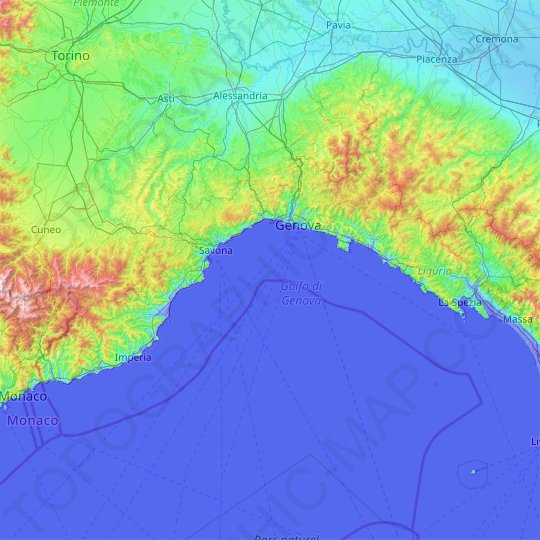 Liguria topographic map, elevation, relief