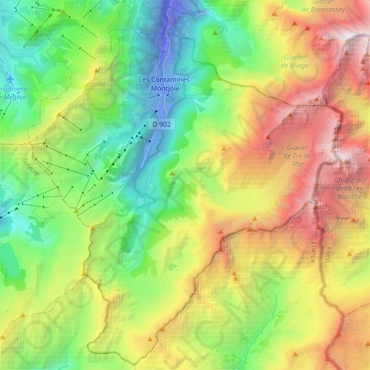 Les Contamines-Montjoie topographic map, elevation, relief