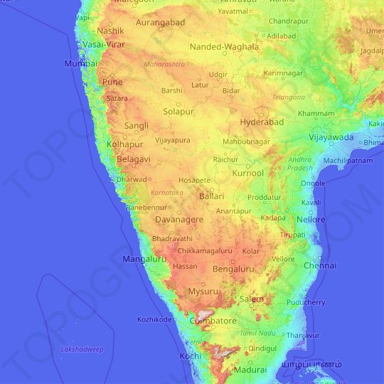 Karnataka topographic map, elevation, relief