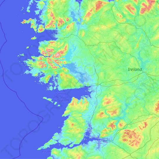 County Galway topographic map, elevation, relief