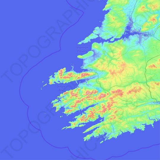 County Kerry topographic map, relief map, elevations map