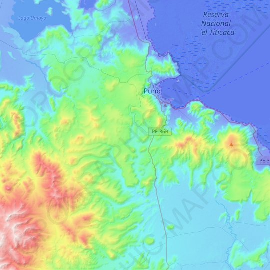 Puno topographic map, elevation, relief