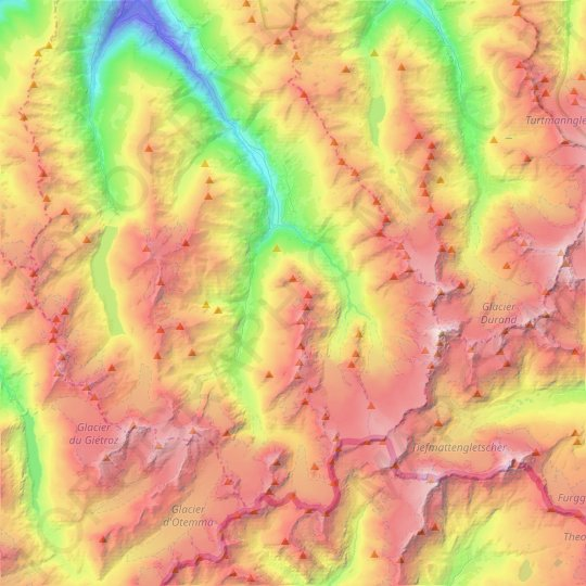 Evolène topographic map, elevation, relief