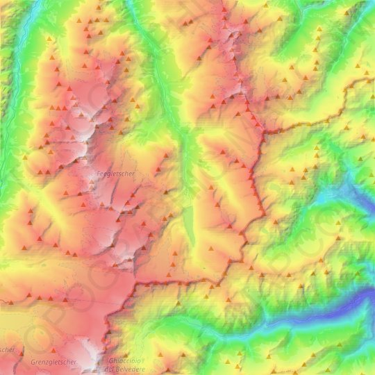 Saas-Almagell topographic map, elevation, relief