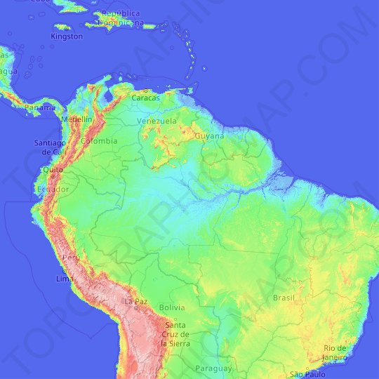 Amazon river topographic map, elevation, relief