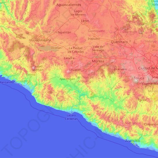 Michoacán topographic map, elevation, relief