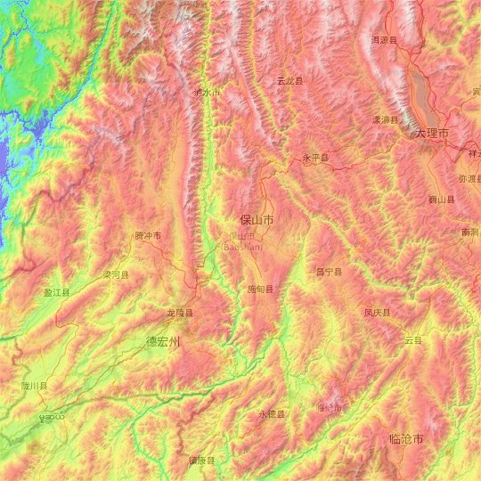 Baoshan topographic map, elevation, relief