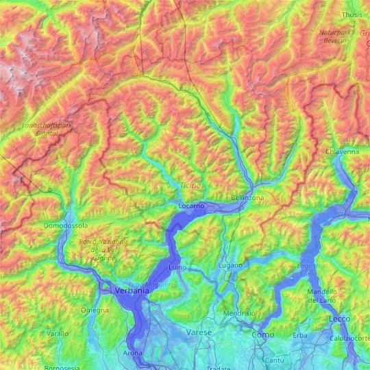 Ticino topographic map, elevation, relief